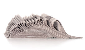A stack of folded newspapers Stock Photos