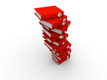 Stack of folders. Stack of red folders on white background, deadline concept - 3d render Stock Image