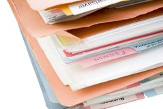 Stack of Folders with Dividers Stock Image