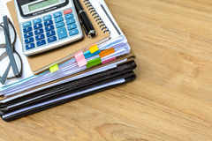 Stack of folders and documents. On office desk Royalty Free Stock Photos
