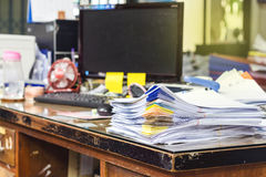 Stack of folders and documents. On office table Royalty Free Stock Photos