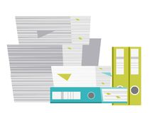 Stack of folders and documents vector cartoon. Stock Photography