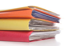 Stack of folders with files. Pile of folders with old documents and bills Royalty Free Stock Photography