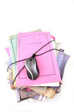 Stack of folders with mouse Royalty Free Stock Photography