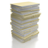 Stack of folders on white background. Stack of manila office folders or files on white background Stock Images