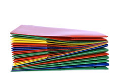 Stack Of Folders On White Background Stock Images