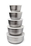 Stack of food metallic containers Stock Photo