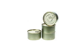Stack of food tin can isolated on white Royalty Free Stock Image
