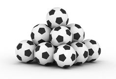 Stack of football soccer balls Stock Photos