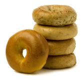 Stack of Four Bagels with OneLeaning on the Side Stock Image