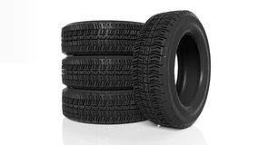 Stack of four black tires Royalty Free Stock Images