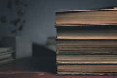 Four old vintage books on a wooden table and a dry flower on the background stock photos