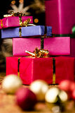 Stack of Four Presents and Spheres Royalty Free Stock Photo
