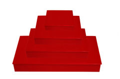 Stack of Four Red Boxes Stock Image