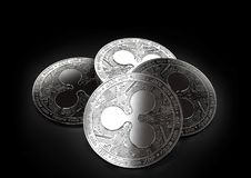 Stack of four silver Ripple coins laying on the black background. 3D rendering Stock Photos
