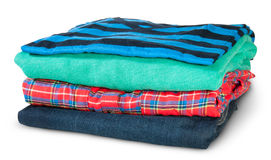 Stack Of Four Types Of Clothes Rotated Royalty Free Stock Photography