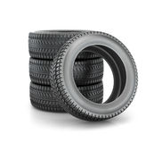 Stack of four wheel new black tyres for  car Stock Photo