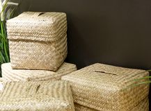 Stack of Four Wicker Baskets Made From Bamboo Stock Photos