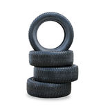 The stack of four winter new tires Stock Photo
