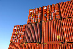 Stack of freight containers Stock Photos