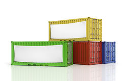 Stack of freight containers with blank white banner. Stock Photo