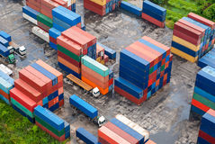 Stack of Freight Containers at the Docks Stock Images