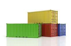 Stack of freight containers. Royalty Free Stock Image