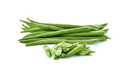 Stack of French beans on white Royalty Free Stock Photography