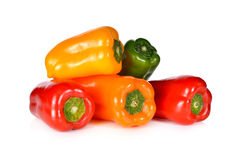 Stack of fresh Aura sweet red, yellow, green, orange pepper Royalty Free Stock Photography