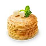 Stack of fresh baked pancakes isolated on white Royalty Free Stock Image