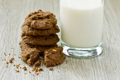 Stack of fresh cookies and a glass of milk Royalty Free Stock Images