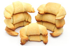 Stack of fresh croissants on white background Royalty Free Stock Photo