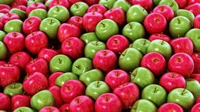 Stack of fresh green and red apples. 3D illustration.  stock illustration
