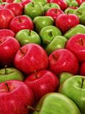 Stack of fresh green and red apples. 3D illustration.  vector illustration