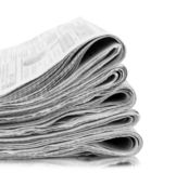 Stack of Fresh newspapers stock images