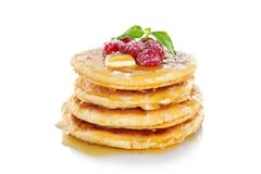 Stack of fresh pancakes with berrie. S royalty free stock photography
