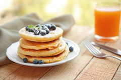 Stack of fresh pancakes with blueberry Stock Images