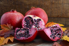 Stack of fresh pomegranates Stock Images
