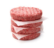 Stack of fresh raw burger patty Stock Photo