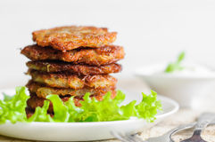 Stack of fried potato pancakes Stock Photography