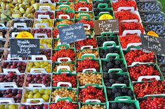 Stack of Fruits With Signage Stock Images
