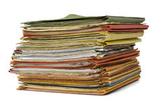 Stack of full file folders Stock Photo