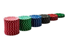 Stack of gambling chips. Isolated stack of gambling chips lined up as chart Stock Photography