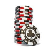 Stack of gambling chips and one Black club chip 3D. Render illustration isolated on white background royalty free illustration