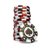Stack of gambling chips and one Black spade chip 3D. Render illustration isolated on white background vector illustration