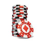 Stack of gambling chips and one Red diamond chip 3D. Render illustration isolated on white background vector illustration