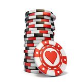 Stack of gambling chips and one Red heart chip 3D. Render illustration isolated on white background vector illustration