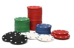 Stack of gambling chips over white Stock Image