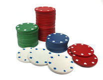 Stack of gambling chips over white Royalty Free Stock Photography