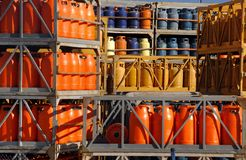 Stack of gas bottles Stock Image